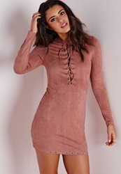 Missguided Eyelet Detail Faux Suede Bodycon Dress Rose Red