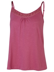 Fat Face Lace Detail Swing Pyjama Cami Rosy Glow