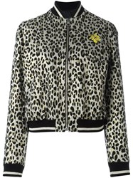 Just Cavalli Animal Print Bomber Jacket Nude Neutrals