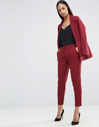 Asos Ankle Grazer Cigarette Trousers In Crepe Berry Red