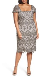 Pisarro Nights Plus Size Women's Lace Tiers Embellished Cocktail Sheath Dress