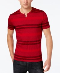 Kenneth Cole Reaction Men's Feeder Striped Split Neck T Shirt Red Stone