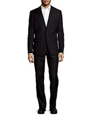 Versace Wool Notch Lapel Textured Suit Black
