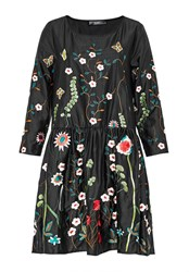 Hallhuber Relaxed Cut Dress With Embroidery Multi Coloured Multi Coloured