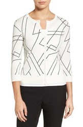 Halogenr Women's Halogen Three Quarter Sleeve Crewneck Cardigan Ivory Beige Geo Print