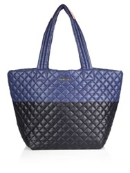 M Z Wallace Metro Medium Two Tone Quilted Nylon Tote Blue Black