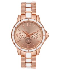 Charter Club Women's Rose Gold Tone And White Bracelet Watch 34Mm Created For Macy's