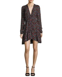 A.L.C. Renata Long Sleeve Floral Silk Mini Dress Black Multicolor