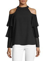 Saks Fifth Avenue Ruffle Sleeve Cold Shoulder Blouse Black