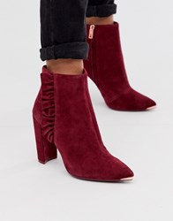 Ted Baker Frillis Ruffle Heeled Ankle Boots In Berry Suede Black