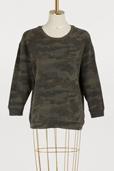 James Perse Cropped Camouflage Sweatshirt Leaf Camo