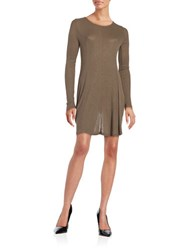 Design Lab Lord And Taylor Bayday Ribbed Long Sleeve A Line Dress Olive