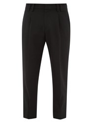Wooyoungmi Wool Twill Tapered Leg Trousers Black