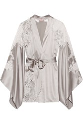 Agent Provocateur Nayeli Leavers Lace Paneled Silk Blend Satin Robe Silver
