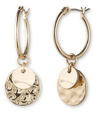 Lonna And Lilly Goldtone Hoop Disc Drop Earrings