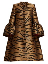 Carolina Herrera Trumpet Sleeve Tiger Jacquard Opera Coat Brown Multi