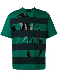 Diesel Black Gold Striped Scorpion Print T Shirt Green