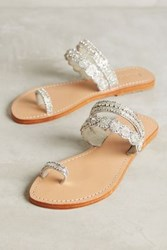 Anthropologie Mystique Jeweled Toe Loop Sandals Silver 9 Sandals