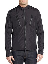 Michael Kors Leather Trimmed Nylon Moto Jacket Black