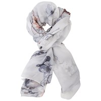 Chesca Soft Floral Print Silk Scarf Silver White