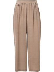 Megan Park Cropped Trousers Nude And Neutrals