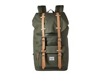 Herschel Little America Deep Lichen Green Stripe Veggie Tan Leather Backpack Bags Olive