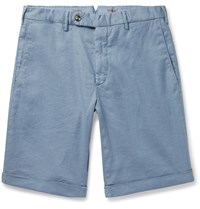 Zanella Chase Stretch Linen And Cotton Blend Shorts Blue