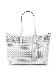 Milly Laser Cut Leather Tote White
