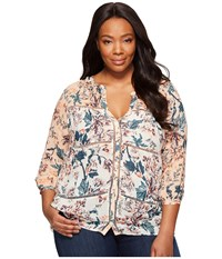 Lucky Brand Plus Size Mixed Print Peasant Top Natural Multi Women's Long Sleeve Button Up