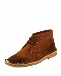 Prada Scamosciato Studded Sport Suede Chukka Boot Brown