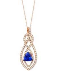 Le Vian Tanzanite 1 1 3 Ct. T.W. And Diamond 1 1 3 Ct. T.W. Pendant Necklace In 14K Rose Gold Purple