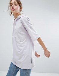 Monki Short Sleeve Hoodie Top Purple