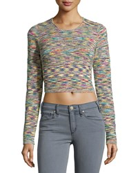 Romeo And Juliet Couture Long Sleeve Textured Space Dyed Crop Top Multicolor