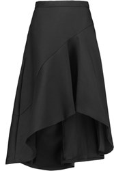 Halston Heritage Asymmetric Cotton And Silk Blend Midi Skirt Black