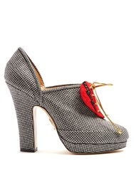 Charlotte Olympia Leading Lady Suede Heart Hound's Tooth Pumps Grey Multi