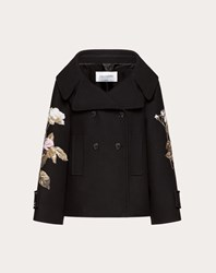 Valentino Drill Drap Pea Coat With Embroidered Undercover Patch Multicoloured 100 Lana