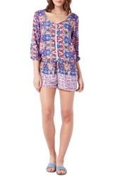 Women's Michael Stars Mix Print V Neck Romper