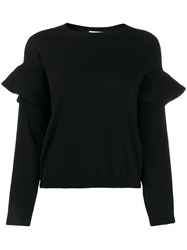 Red Valentino Ruffled Sleeves Crew Neck Jumper Black