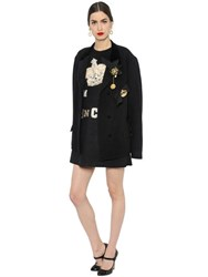 Dolce And Gabbana Velvet Collar Boiled Wool Short Coat