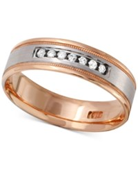 Macy's Men's Diamond Two Tone Band 1 4 Ct. T.W. In 10K Gold And White Gold Or Rose Gold And White Gold Rose Two Tone