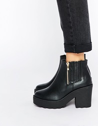 Truffle Collection Pearl Platform Zip Ankle Boots Blackpu