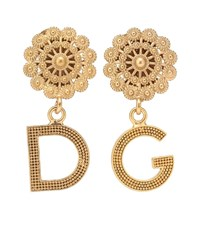 Dolce And Gabbana Logo Clip On Earrings Gold