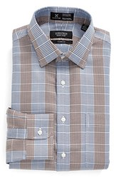 Nordstrom Men's Men's Shop Smartcare Classic Fit Graphic Check Dress Shirt Brown Bag