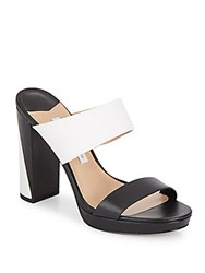 Diane Von Furstenberg Bruges Colorblock Leather Slide Sandals Black White