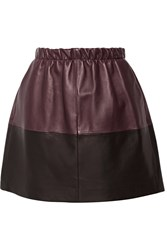 Vince Two Tone Leather Mini Skirt Red