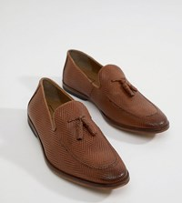 Asos Design Wide Fit Loafers In Tan Leather With Tassel