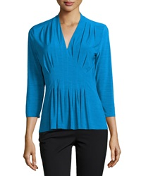 Catherine Catherine Malandrino Nic Pleated V Neck Tee Azure Blue