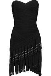 Herve Leger Tasseled Bandage Mini Dress Black