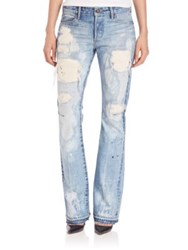 Tortoise Bell Paint Splatter Distressed Bootcut Jeans