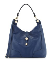 Neiman Marcus Framed Leather Hobo Bag Dark Blue